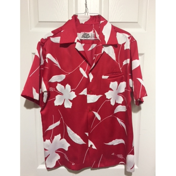 c144f570 Hilo Hattie Shirts   Vintage 70s Red Hibiscus Aloha Hawaiian Shirt M ...
